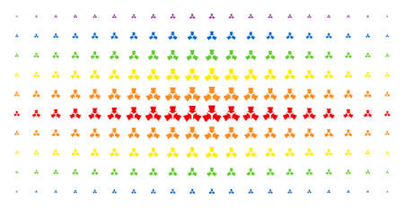 Shrink arrows icon spectral halftone pattern. Vector shrink arrows pictograms are organized into halftone matrix with vertical rainbow colors gradient. Designed for backgrounds, covers, Illustration