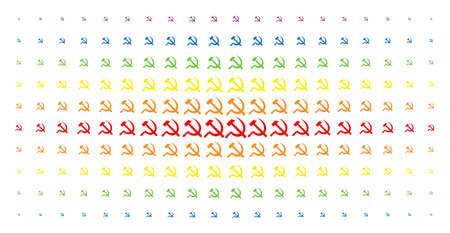 Sickle and hammer icon spectral halftone pattern. Vector sickle and hammer items are arranged into halftone grid with vertical spectral gradient. Designed for backgrounds and covers.