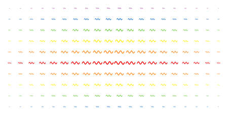 Sinusoid wave icon spectral halftone pattern. Vector sinusoid wave shapes are organised into halftone grid with vertical rainbow colours gradient. Designed for backgrounds, covers.