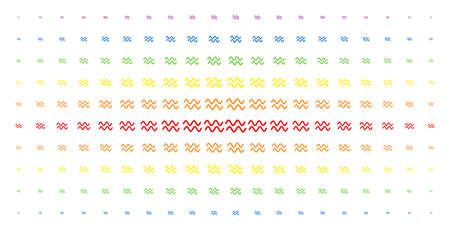 Sinusoid waves icon rainbow colored halftone pattern. Vector sinusoid waves pictograms are arranged into halftone matrix with vertical rainbow colors gradient. Designed for backgrounds, covers, Illustration