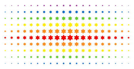 Six pointed star icon spectral halftone pattern. Vector six pointed star pictograms are arranged into halftone array with vertical spectral gradient. Constructed for backgrounds, covers,