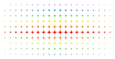 Space star icon spectrum halftone pattern. Vector space star symbols are arranged into halftone grid with vertical spectrum gradient. Designed for backgrounds, covers, templates and abstract concepts.
