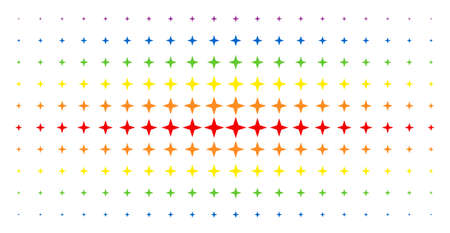 Space star icon spectral halftone pattern. Vector space star pictograms are organized into halftone grid with vertical spectrum gradient. Designed for backgrounds, covers, Illusztráció