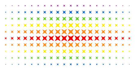 Sparkle star icon rainbow colored halftone pattern. Vector sparkle star objects are organized into halftone array with vertical spectrum gradient. Designed for backgrounds, covers,