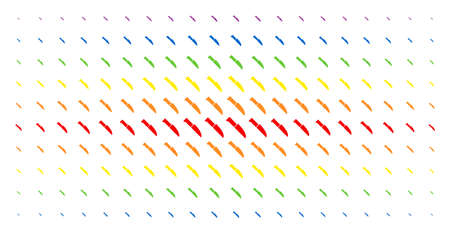 Surgery knife icon rainbow colored halftone pattern. Vector surgery knife symbols are arranged into halftone matrix with vertical spectrum gradient. Constructed for backgrounds, covers,