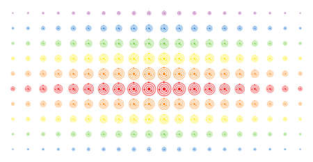 Solar system icon spectrum halftone pattern. Vector solar system shapes are arranged into halftone array with vertical rainbow colors gradient. Constructed for backgrounds, covers,