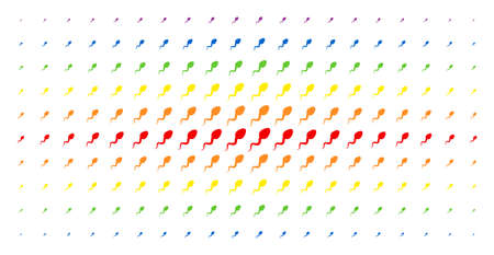 Spermatozoon icon rainbow colored halftone pattern. Vector spermatozoon shapes are arranged into halftone grid with vertical spectrum gradient. Constructed for backgrounds, covers, Illustration