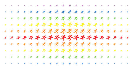 Running man icon spectrum halftone pattern. Vector running man shapes are organized into halftone matrix with vertical spectral gradient. Constructed for backgrounds, covers,