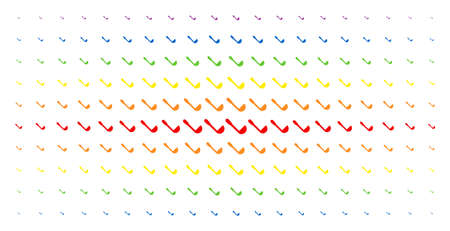 Scoop icon rainbow colored halftone pattern. Vector scoop shapes are organized into halftone array with vertical spectrum gradient. Designed for backgrounds, covers,