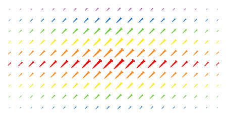 Screw icon spectrum halftone pattern. Vector screw pictograms are organized into halftone matrix with vertical rainbow colors gradient. Constructed for backgrounds, covers,