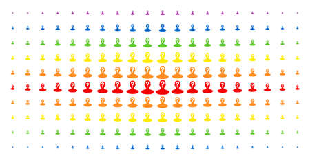 Unknown person icon spectrum halftone pattern. Vector unknown person items are arranged into halftone array with vertical rainbow colors gradient. Designed for backgrounds, covers,