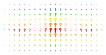Trident fork icon rainbow colored halftone pattern. Vector trident fork symbols are organized into halftone array with vertical rainbow colors gradient. Designed for backgrounds, covers,