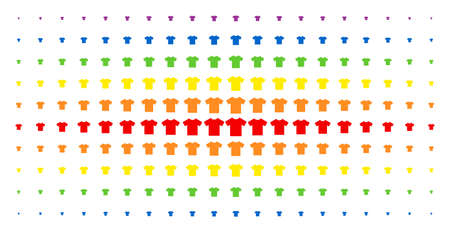 T-shirt icon spectral halftone pattern. Vector t-shirt pictograms are organized into halftone grid with vertical rainbow colors gradient. Constructed for backgrounds, covers,