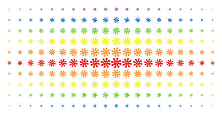 Virus icon spectrum halftone pattern. Vector virus pictograms are arranged into halftone array with vertical rainbow colors gradient. Designed for backgrounds, covers,