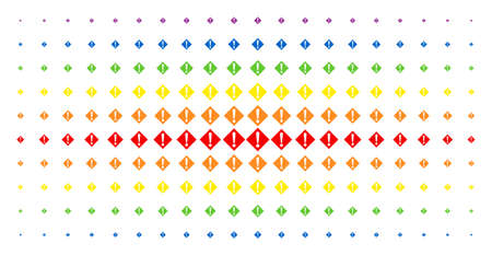 Warning icon rainbow colored halftone pattern. Vector warning symbols are arranged into halftone grid with vertical rainbow colors gradient. Designed for backgrounds, covers, Ilustração