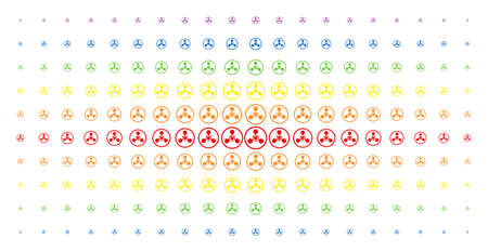 WMD nerve agent chemical warfare icon spectrum halftone pattern. Vector wmd nerve agent chemical warfare shapes are arranged into halftone array with vertical spectrum gradient.