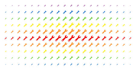 Wrench icon rainbow colored halftone pattern. Vector wrench shapes are organized into halftone grid with vertical rainbow colors gradient. Designed for backgrounds, covers,