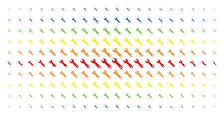 Wrench icon rainbow colored halftone pattern. Vector wrench shapes are arranged into halftone matrix with vertical spectrum gradient. Constructed for backgrounds, covers, Ilustrace