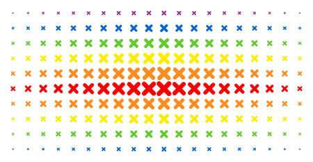 X-cross icon spectral halftone pattern. Vector x-cross shapes are arranged into halftone matrix with vertical spectral gradient. Designed for backgrounds, covers, templates and abstract concepts.