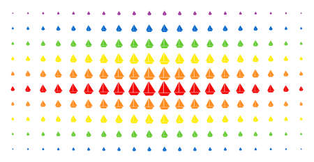 Yacht icon spectrum halftone pattern. Vector yacht pictograms are organized into halftone array with vertical rainbow colors gradient. Designed for backgrounds, covers, Illustration