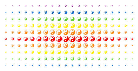 Yin yang icon spectrum halftone pattern. Vector yin yang shapes are arranged into halftone grid with vertical spectral gradient. Constructed for backgrounds, covers, templates and abstraction effects.