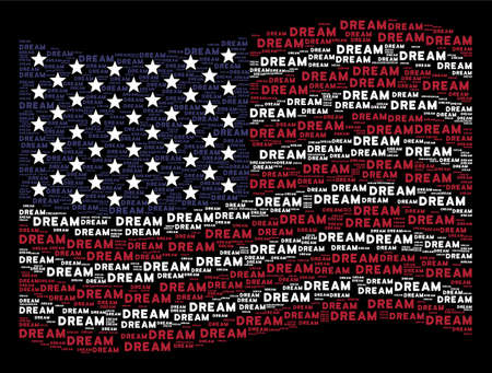 Dream word items are combined into waving American flag abstraction on a dark background. Vector collage of American state flag is composed from dream word elements.