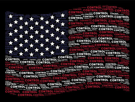 Control text items are composed into waving USA flag abstraction on a dark background. Vector composition of USA state flag is designed from control text items.