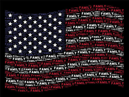 Family text items are grouped into waving USA flag abstraction on a dark background. Vector composition of American state flag is created of family text items.