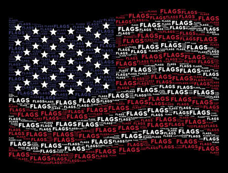 Flags word items are grouped into waving American flag stylization on a dark background. Vector composition of USA state flag is organized of flags word items. Illustration
