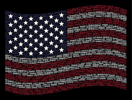 Chain items are grouped into waving American flag abstraction on a dark background. Vector concept of American state flag is combined of chain items. Designed for political and patriotic promotion.