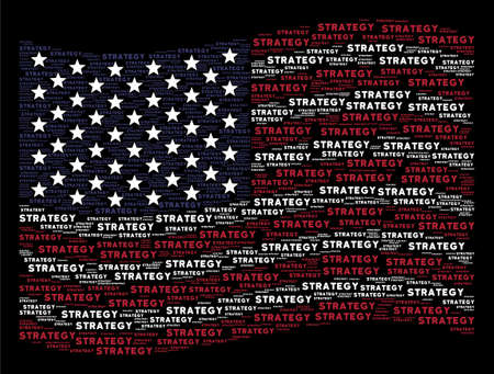 Strategy text items are grouped into waving United States flag stylization on a dark background. Vector concept of American state flag is designed of strategy text items.