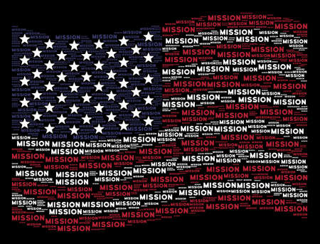 Mission text items are arranged into waving USA flag abstraction on a dark background. Vector composition of USA state flag is formed of mission text items.
