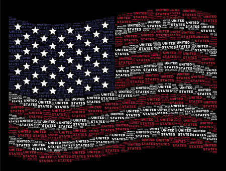 United States text items are grouped into waving United States flag stylization on a dark background. Vector composition of American state flag is organized with United States text items.