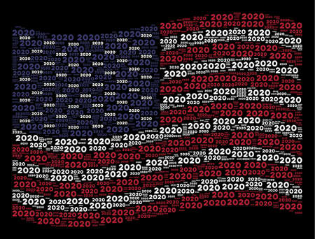 2020 year text symbols are composed into waving USA flag stylization on a dark background. Vector composition of USA state flag is combined from 2020 year text items.