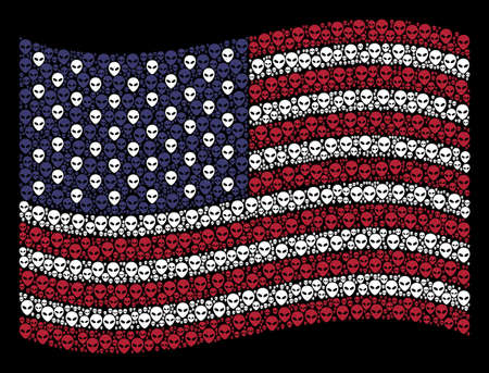 Alien face symbols are combined into waving United States flag abstraction on a dark background. Vector composition of USA state flag is designed of alien face items. 일러스트