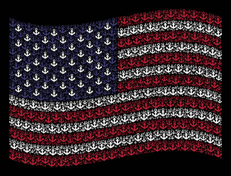 Anchor symbols are combined into waving American flag abstraction on a dark background. Vector collage of American state flag is organized from anchor elements. Ilustração