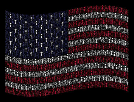 Abstract man icons are combined into waving United States flag stylization on a dark background. Vector collage of America state flag is done of abstract man elements. Illustration