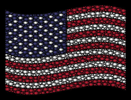 Bacteria icons are organized into waving USA flag abstraction on a dark background. Vector concept of America state flag is done from bacteria elements. Çizim