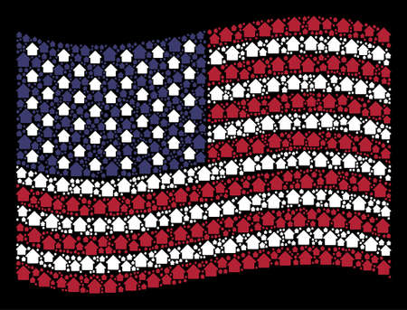 Cabin symbols are arranged into waving United States flag abstraction on a dark background. Vector collage of USA state flag is designed with cabin items.