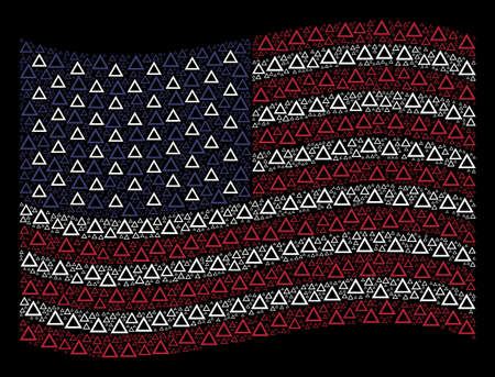 Contour triangle symbols are composed into waving American flag abstraction on a dark background. Vector collage of USA state flag is designed with contour triangle items. Illustration