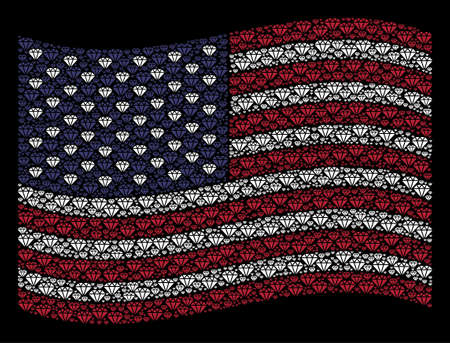 Diamond icons are composed into waving American flag abstraction on a dark background. Vector concept of USA state flag is done from diamond elements.