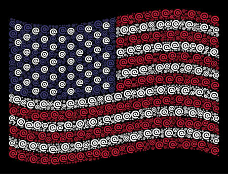 Email symbol icons are combined into waving United States flag stylization on a dark background. Vector collage of USA state flag is constructed with email symbol items. Illustration