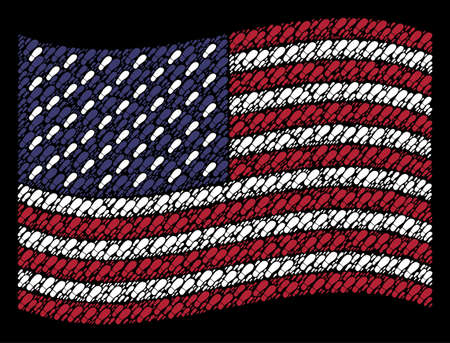 Boot footprint symbols are arranged into waving USA flag abstraction on a dark background. Vector composition of American state flag is designed with boot footprint elements.
