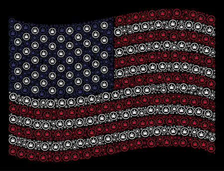 Cannabis pictograms are grouped into waving American flag abstraction on a dark background. Vector collage of USA state flag is composed with cannabis elements.