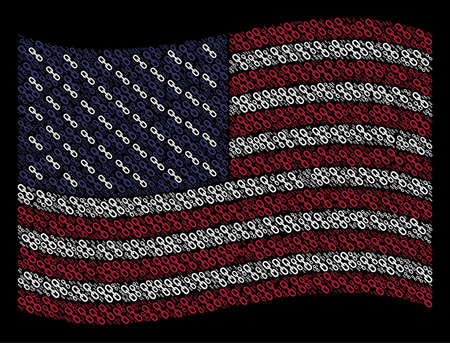 Chain icons are arranged into waving United States flag abstraction on a dark background. Vector collage of America state flag is combined of chain elements.