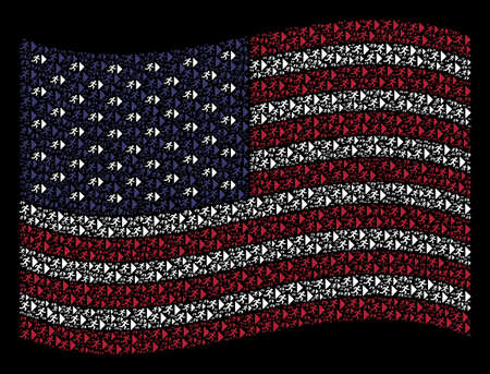 Exit direction icons are arranged into waving American flag stylization on a dark background. Vector collage of American state flag is constructed of exit direction items. Illustration