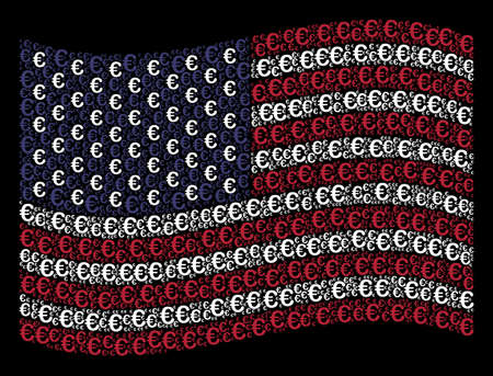 Euro symbol pictograms are grouped into waving United States flag stylization on a dark background. Vector concept of American state flag is composed from Euro symbol elements.