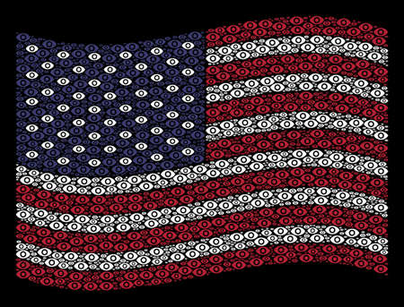 Eye symbols are grouped into waving American flag stylization on a dark background. Vector composition of American state flag is constructed from eye elements.