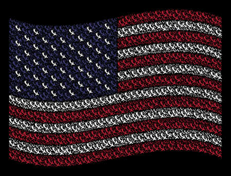 Falling airplane pictograms are combined into waving United States flag stylization on a dark background. Vector composition of American state flag is designed with falling airplane elements.
