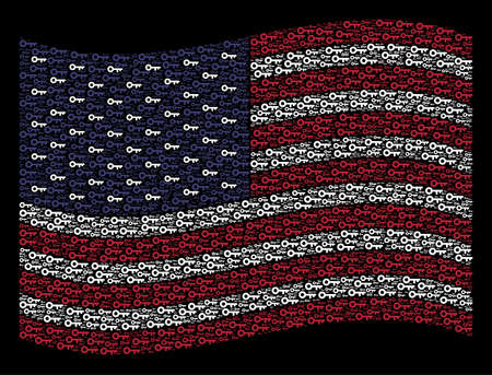 Key icons are arranged into waving USA flag stylization on a dark background. Vector composition of USA state flag is combined from key items. Designed for political and patriotic agitprop.